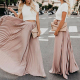 Popular Skirts 2019 New Women Boho Chiffon Skirt Femme Long Maxi Skirts Lady Beach Pleated Sundress Skirt Of Good Quality