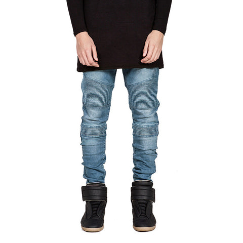 2019 Streetwear Mens Ripped Biker Jeans Homme Men's Motorcycle Slim Black White Blue Moto Denim Joggers Skinny