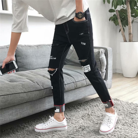 Fashion Casual Men Jeans Hole Solid  Ankle Length Denim Pants  Slim  Jeans Homme Big Size