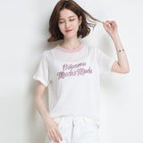2019 Korean Cute Letter Tee shirt femme Hipster Harajuku Lurex Womens Clothing Kawaii Ladies short sleeve Women Tops
