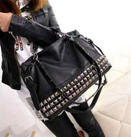 FiveLoveTwo Women Leather Stud Rivet Tote Shopping Handbag