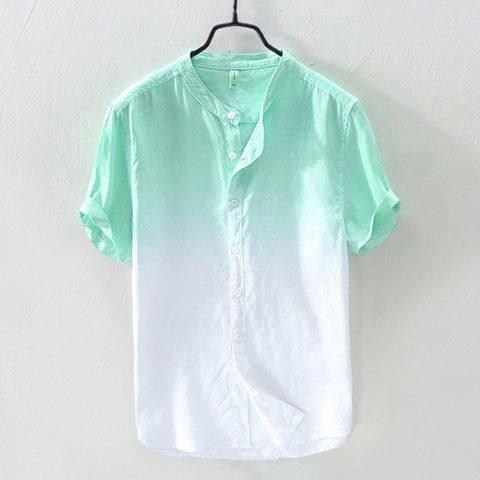 Men's Shirts Summer Fashion Lapel Collar Hanging Dyed Gradient Cool Thin Breathable Cotton Linen blouses loose Top 7.15