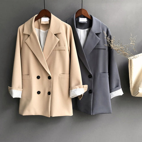 Autumn 2019 Winter Women's Jacket Blazer Outwear Notched Double Breasted Long Sleeve Office Lady Blazers Mujer Elegant Coat