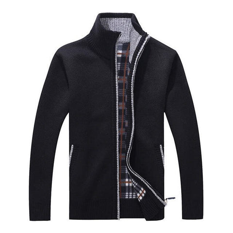 Men's Sweaters Autumn Winter Warm Thick Velvet Sweater Jackets Cardigan Coats Male Clothing Casual Knitwear US Size XS-XL
