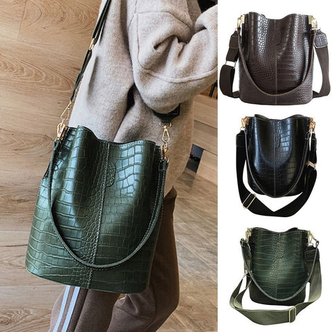MoneRffi Large Capacity Alligator Bucket Bags Women Crocodile Pattern Handbag Casual Crocodile Shoulder Messenger Bags PU Purse