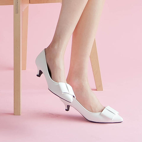 European Size 30-44 Low-heeled Shoe Pointed Lady Bow-knot Large Size Women's White Wedding Shoes Bride