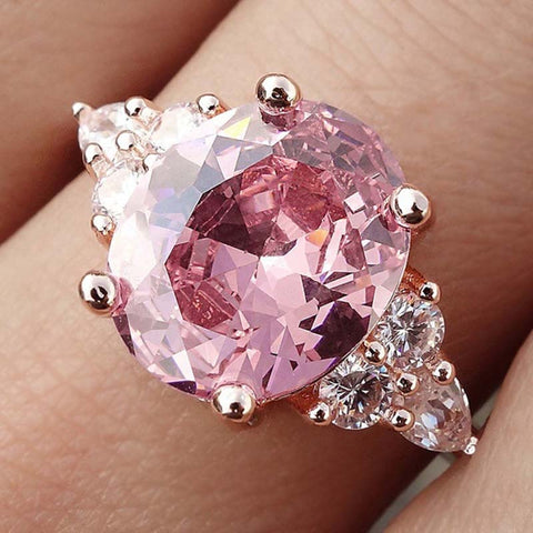 Pink Crystal Cubic Zircon Women Ring Princess Wedding Band Rose Gold Silver Color Female Finger Ring Engagement Party DDR194
