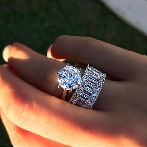 choucong Luxury solitaire ring set 925 sterling Silver AAAAA Zircon Sona cz Engagement Wedding Band Rings For Women men Jewelry