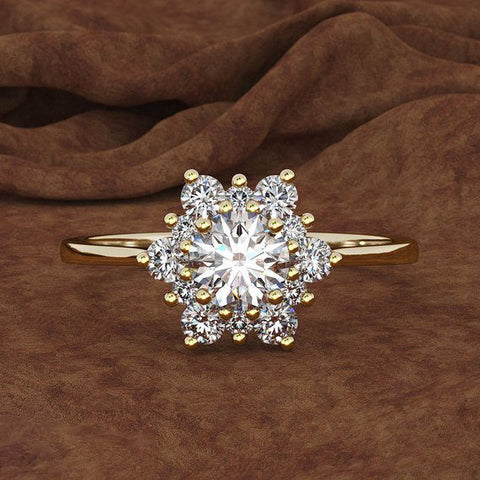 Luxury Female Snowflake Ring Fashion 925 Silver Yellow Rose Gold Color Crystal Zircon Stone Ring Vintage Wedding Rings For Women