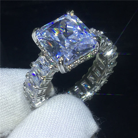 Vecalon Vintage Ring Sets 925 sterling silver Princess cut Cubic Zirconia Engagement Wedding band rings for women men Jewelry