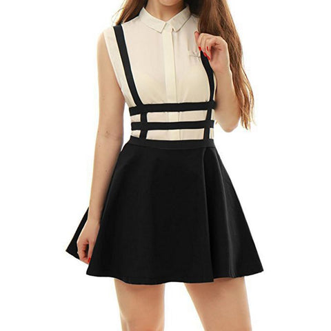 ISHINE Women Colorful Skirt With Shoulder Straps Retro Hollow Out Pleated Skirt Suspender Skirts High Waist Mini School Skirt