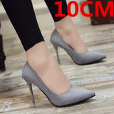 Marlisasa Femmes Hauts Talons Women Fashion Classic Flock High Heel Shoes Lady Office Grey High Heel Shoes Female Pumps F2912
