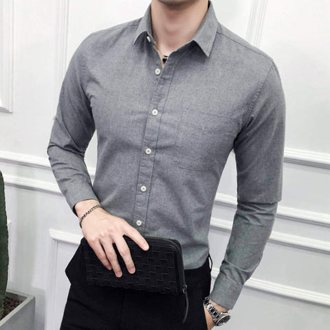 2019 Men Wedding Shirt Long Sleeve Men Dress Shirts Man Business Party Solid Casual Shirt Work Wear Formal Slim Male Shirt m-5xl