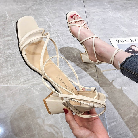 Cross Bandage High Heels Sandals Women Pumps Summer Fashion Lace-Up High Heels Peep Toe Shoes Female Square Heel Ladies Sandals