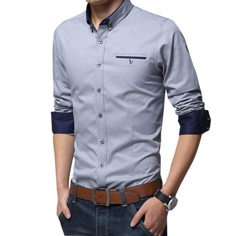 Legible Casual Social Formal shirt Men long Sleeve Shirt Business Slim Office Shirt male Cotton Mens Dress Shirts white 4XL 5XL