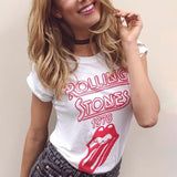 Summer White T Shirt Women Short t shirt Cotton Red Letter Alphabet Pattern Print Graphic Design Rock Tops Tee Clothing