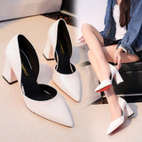 Temperament elegant pearl high heels 2019 new white thick with single shoes middle hollow fashion simple womens shoes work shoes