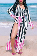 Stripe Trendy Printed Two-piece Swimwear