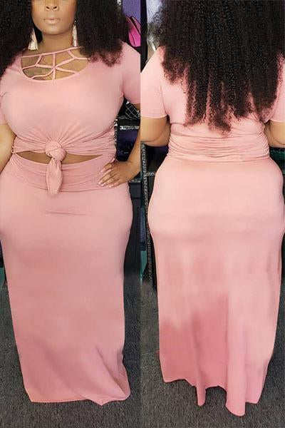 Plus Size Pure Color Skirt Set