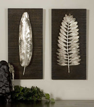 Load image into Gallery viewer, SILVER LEAVES METAL WALL PANELS, S/2