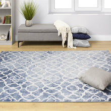Load image into Gallery viewer, Platinum Fancy Trellis Pattern Rug