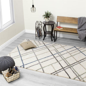 Maroq Multicolour Crossed Lines Rug