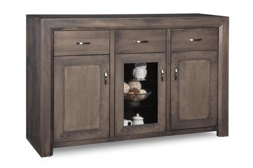 Contempo Sideboard w/2 Wood Doors &1/Center Glass Door &3/Dwrs & 2/Wood & Glass Adjust