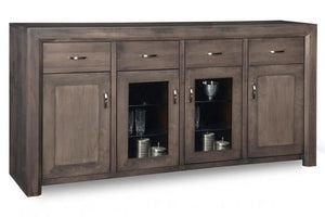 Contempo Sideboard w/2 Wood Doors &2/Center Glass Door &4/Dwrs & 2/Wood & Glass Adjust