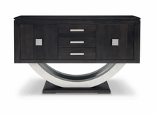 Load image into Gallery viewer, Contempo Pedestal Sideboard w/Metal Curves and 3 Drawers, 2 Doors