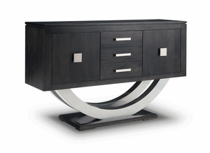 Contempo Pedestal Sideboard w/Metal Curves and 3 Drawers, 2 Doors