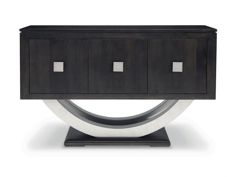 Contempo Pedestal Sideboard w/Metal Curves and 3 Doors