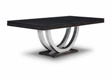 Load image into Gallery viewer, Contempo Metal Curve Pedestal 42x72+2-12 Dining Table