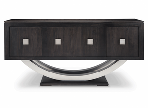 Contempo Pedestal Sideboard w/Metal Curves and 4 Doors