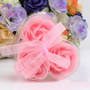 Rose Soap 3Pcs Scented Rose Flower Petal Bath Body Soap Wedding Party Gift Best Decoration Case Festival Box #40