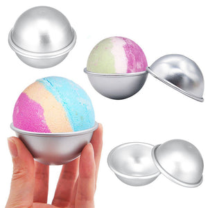 2PCS Round Aluminium Alloy Bath Bomb Molds DIY Tool Bath Bomb Salt Ball Homemade Crafting Gifts Semicircle Sphere Mold