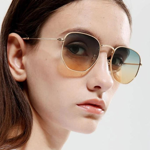 Polygon Metal Vintage Sun Glasses