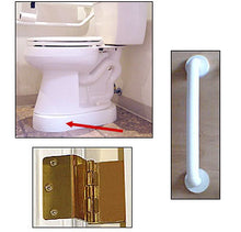 Load image into Gallery viewer, Accessible Bathroom Bundle 1 Toilevator Raised Toilet Base Spacer 18-inch Grab Bar (White) Offset Hinges (Residential)