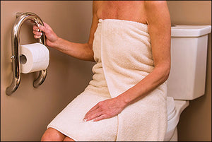 Invisia 2-in-1 Toilet Roll Holder with Integrated Grab Bar