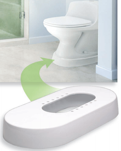 Accessible Bathroom Bundle 1 Toilevator Raised Toilet Base Spacer 18-inch Grab Bar (White) Offset Hinges (Residential)