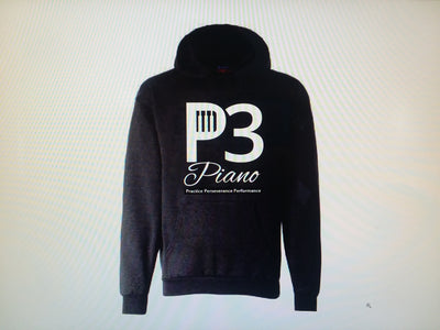 P3 Piano Mens Blue Grey or Black Ashed Single Sided Pull over Hoody