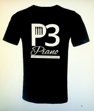 P3 Piano Mens Black Ashed Double Sided T Shirt
