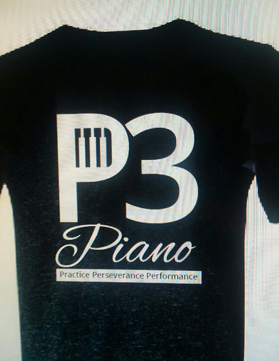 P3 Piano Child / Boys Black Ashed Double Sided T Shirt