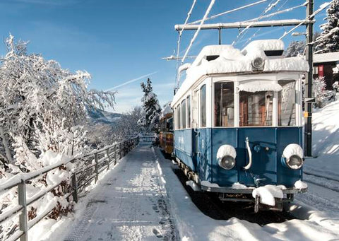 train in snow going to ski resort