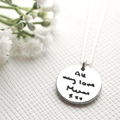 Double Sided Fingerprint & Drawing Pendant with Fine Silver Link Chain