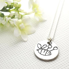 Drawings & Handwriting Pendant with Fine Silver Link Chain