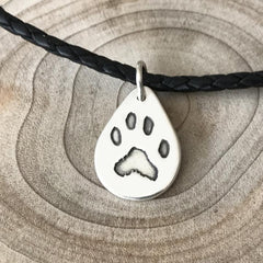 Paw Print Necklace in Leather