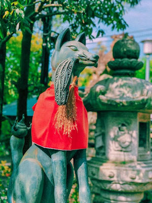 Statue of Shinto Shrine dog in Japan