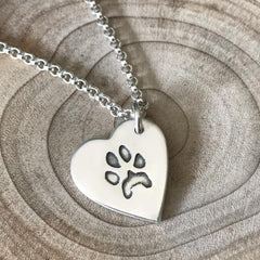 Paw Print Necklace with Fine Belcher Chain