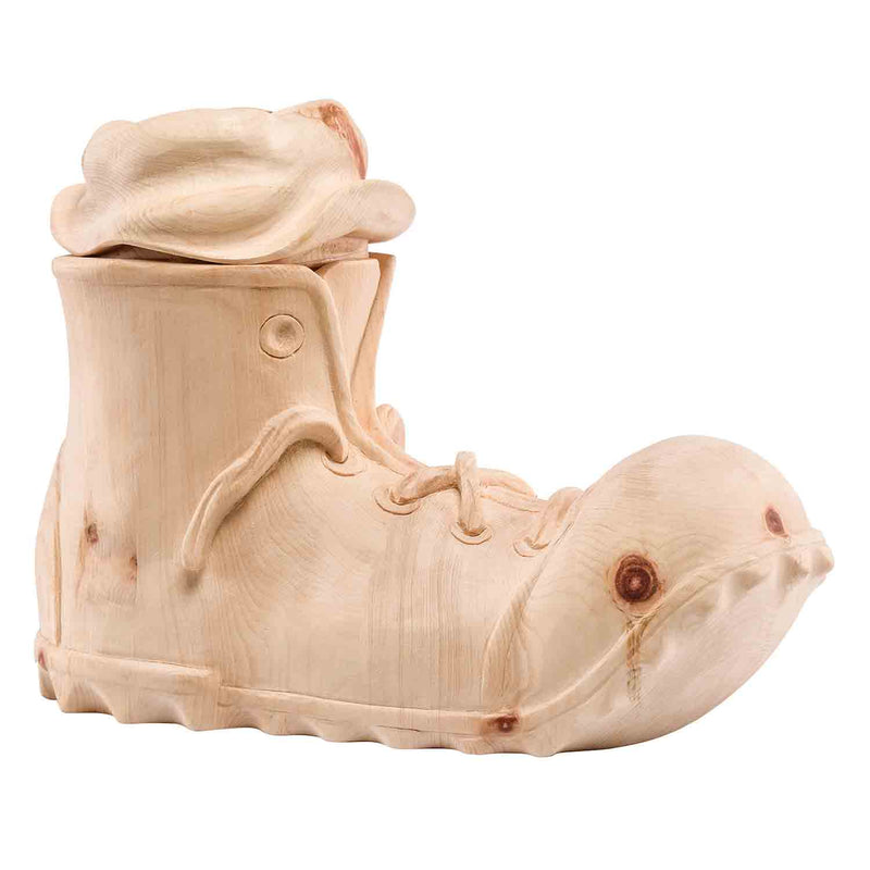 Unusual Boot Cremation Wood Urn