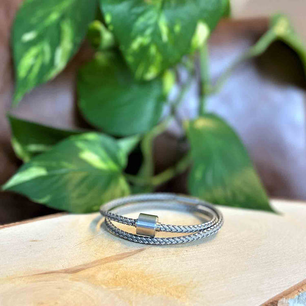 Image of Silver Braided Stainless Steel Ashes Bracelets for Men